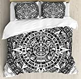 Lunarable Aztec Duvet Cover Set Queen Size, Mayan Calendar End of The World Prophecy Mystery Cool Ancient Culture Design Print, Decorative 3 Piece Bedding Set with 2 Pillow Shams, Black White