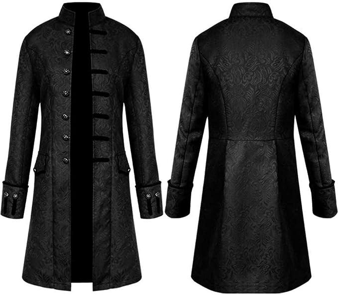 Long Outwear Coat Bouton cureture Hommes Blousons Manteau,Pardessus Hiver Mode Chaude Vintage R/étro Tailcoat Veste /À Manches Longues Col Rond Col Haut