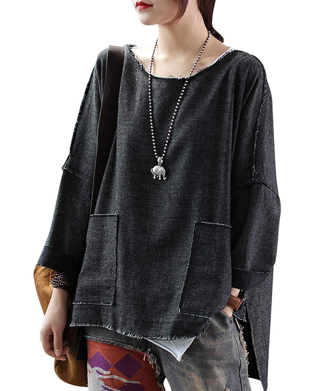 Black YESNO TH2 Women ButtonDown Loose Tops Blouse Shirt Casual Plus Size 100% Linen Big Chest Pocket 3 4 BatWing
