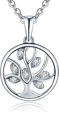 Cha/îne El/égante 45-50cm YL Arbre de Vie Collier Femme Bijoux en Argent Sterling 925 Enfant Collier Plaqu/é or Blanc