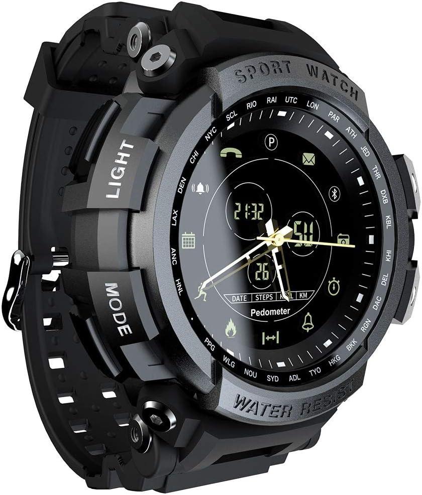 QIANRUNHE Deportes Reloj analógico Digital Smartwatch para Hombres, Impermeable, Bluetooth, Reloj Inteligente, SmartWatch con calorías para Caminar, cámara remota, 5ATM Bluetooth Impermeable