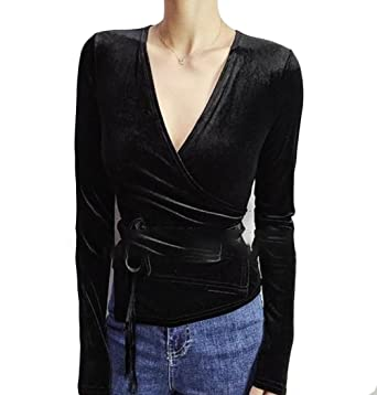 around shirt sexy longsleeve wrap
