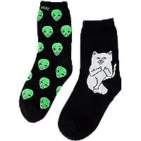 2 Pairs Women Men's Funny Cartoon Alien Cat Cotton Anklet Art Socks (US Size 6-10)