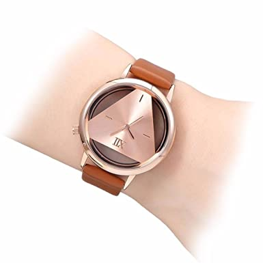 GEEKTHINK Women Hollow Quartz Luxury Watch With Leather Strap