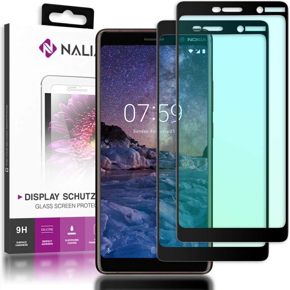 NALIA (2 Unidades) Cristal Templado Compatible con Nokia 7 Plus, 9H Vidrio Blindado Película Protectora Film, Telefono LCD Screen-Protector de Pantalla Claro Tempered-Glass - Transparente (Negro)