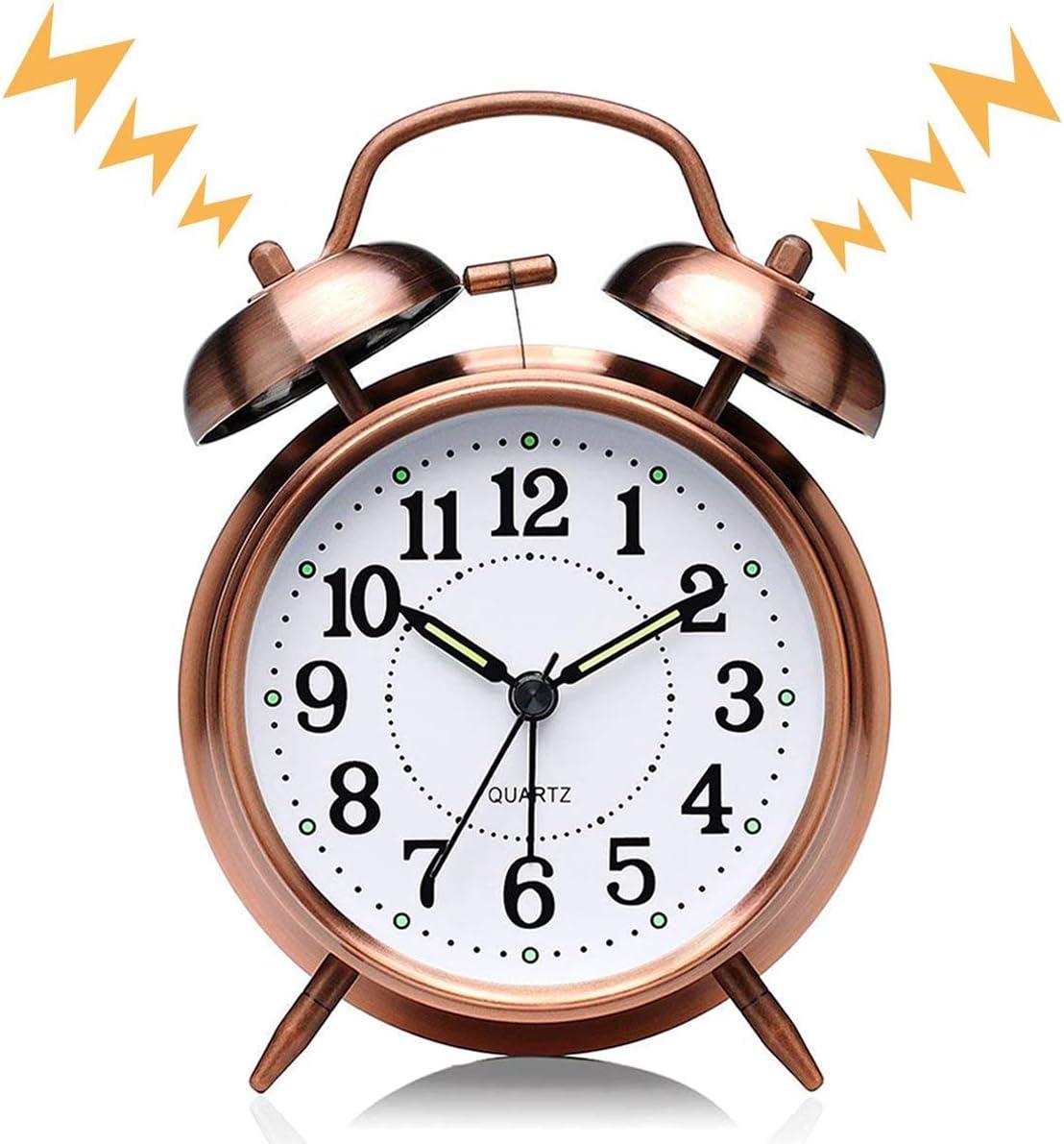 MAYO R/éveil Matin /à Double Cloche Brown 4 Pouces Twin Bell R/éveil Quartz Retro Silencieuse Horloge de Chevet avec Lumi/ère de Nuit pour Sommeil Bureau Chambre Voyage