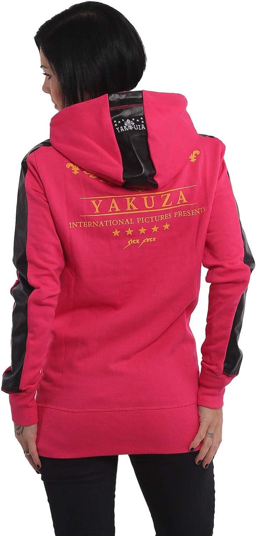 Yakuza Damen Crests Long Zip Hoodie Kapuzenjacke Rose Red