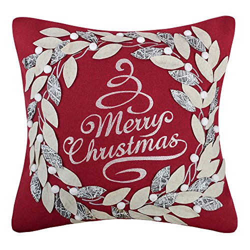 King Rose Merry Christmas Wreath Patch Embroidery Decorative Throw Pillow Case Wool Cushions Cases for Sofa Couch Chair 18 x 18 Inches Christmas Red (Red Pillow Merry)