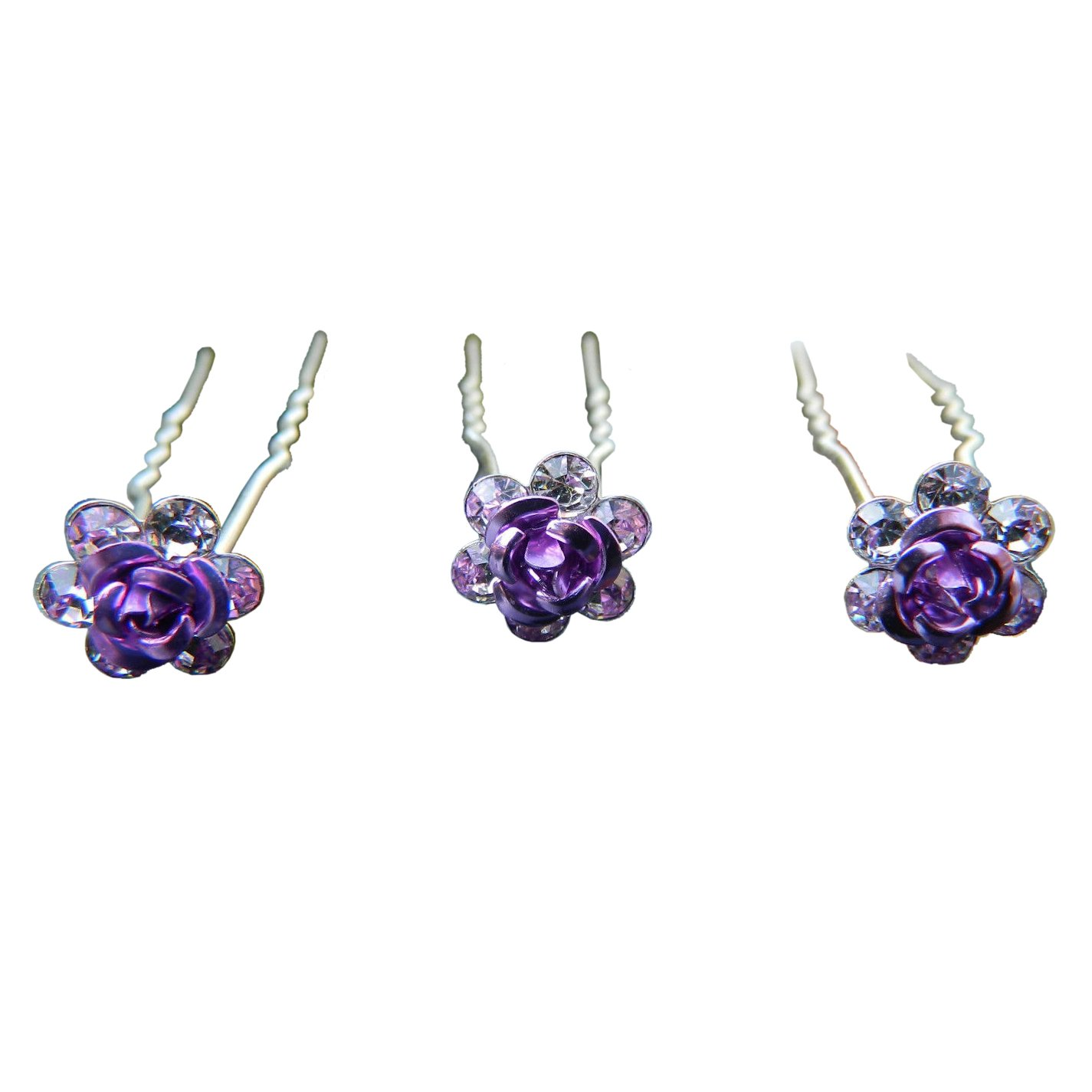 SODIAL 20pcs Rose Flower Crystal Wedding Party Bridal Prom Star Hair Pin Clips Purple 133426A7