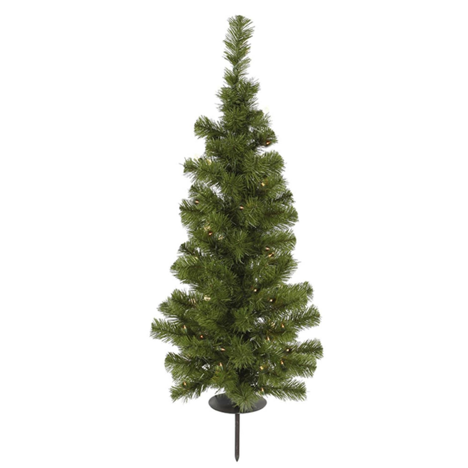 Vickerman 3' Pre-Lit Solar Powered Artificial Stake Christmas Tree - Clear LED Lights