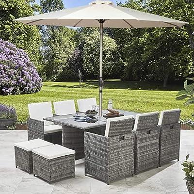 NOVA Deluxe10 Seater Rattan Garden Cube Dining Furniture