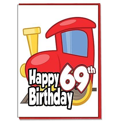 Toy Train - Tarjeta de felicitación de 69 cumpleaños para ...