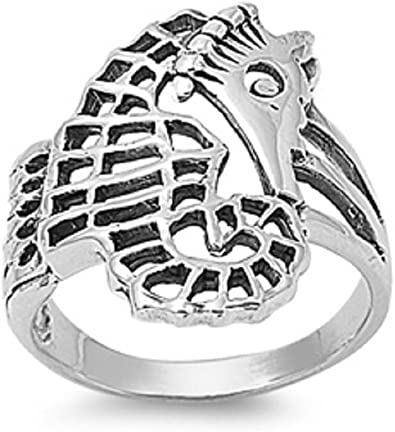 Princess Kylie 925 Sterling Silver Baby Seahorse Ring