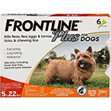 FRONTLINE Plus for Dogs Small Dog (5-22 pounds) Flea and Tick Treatment, 6 Doses