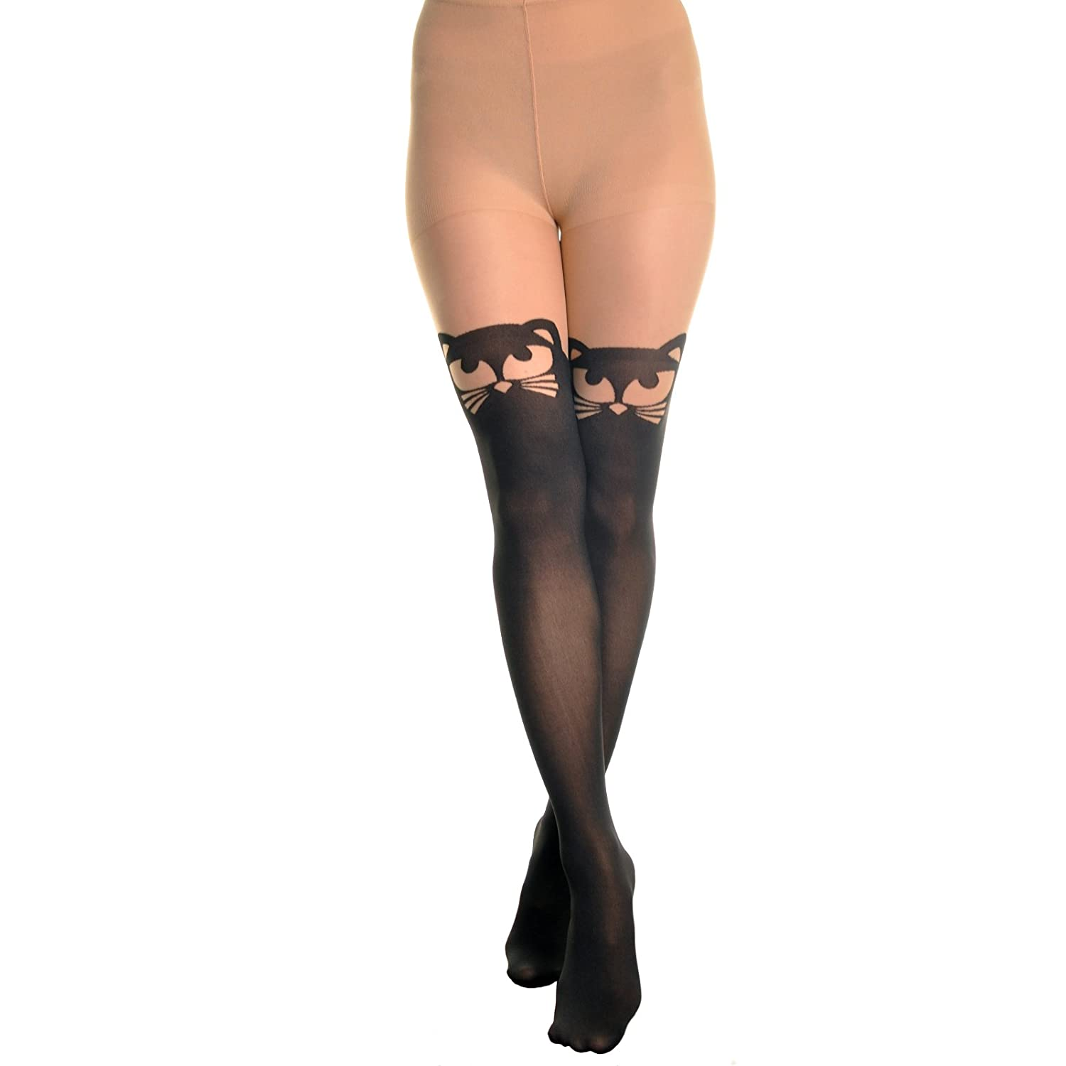 4fc7decfd6f Angelina Womens Animal Pattern Faux Thigh High Pantyhose (Cat)  Amazon.ca   Sports   Outdoors