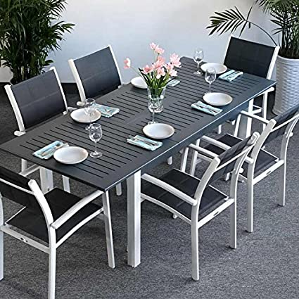 Lottie mesa y 6 sillas   extensible 210 cm juego de muebles de metal ...