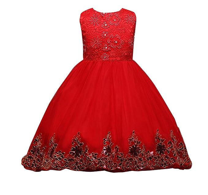 Niña Vestidos De Fiesta Ceremonia Boda Elegantes Sin Mangas para Fiesta Cóctel con bowknot 140cm rojo