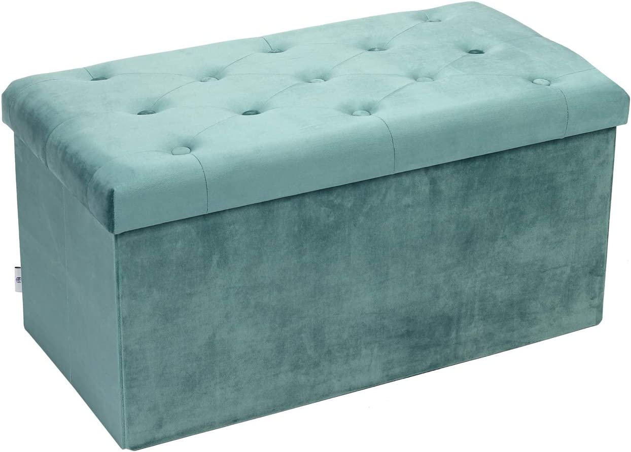 "B FSOBEIIALEO Folding Storage Ottoman, Long Shoes Bench, Flannelette Footrest Stool Seat 31.5""x15.7""x15.7"" (Teal, Large)"