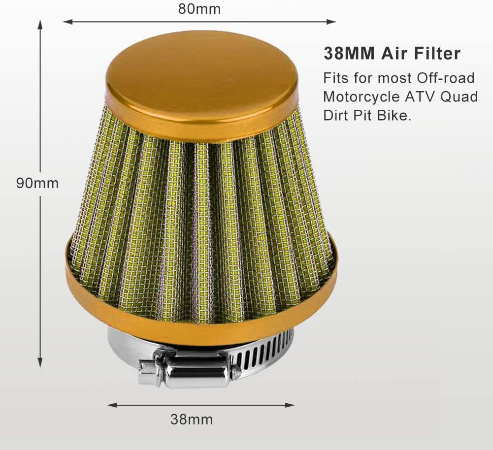 Auto Cold Air Intake Scooter Atv Dirt Pit Bike Motorcycle Air Filter 38mm Universal Motorcycle Clamp-On Air Intake Filter Kit Green