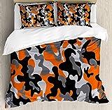 Ambesonne Camo Queen Size Duvet Cover Set, Vibrant Artistic Camouflage Lattice Like Service Theme Modern Design Print, Decorative 3 Piece Bedding Set with 2 Pillow Shams, Orange Grey Black