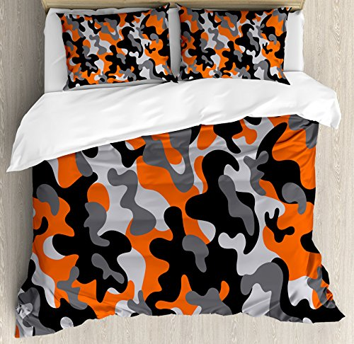 - Ambesonne Camo Queen Size Duvet Cover Set, Vibrant Artistic Camouflage Lattice Like Service Theme Modern Design Print, Decorative 3 Piece Bedding Set with 2 Pillow Shams, Orange Grey Black