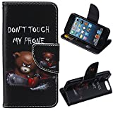 LEECO iPod Touch 5 6th Case,Fashion Synthetic PU Leather Wallet Type Magnet Design Flip Stand Case Cover for Apple iPod Touch 5 6th Generation + Send 1 Stylus Pen(Teddy Bear)