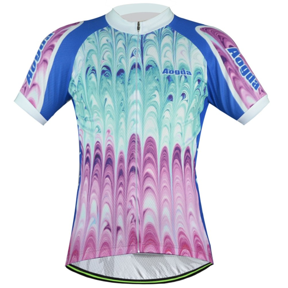 Uriah レディース 自転車半袖ジャージー 反射 B0716S4BHY Chest 40.1''=Tag L|Colorful Feathers Colorful Feathers Chest 40.1''=Tag L
