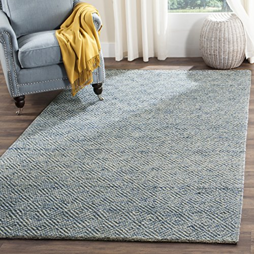 - Safavieh NAT503B-4 Natura Collection Handmade Premium Wool & Cotton Area Rug, 4' x 6', Blue