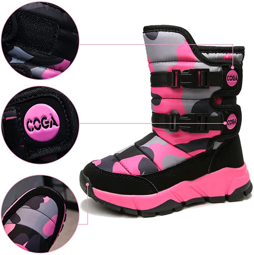 MEAYOU Girls Boys Snow Boots Kids Winter Warm Waterproof Outdoor Slip Resistant Cold Weather Fur Lined Shoes Pink Purple Blue Black Toddler//Little Kid//Big Kid