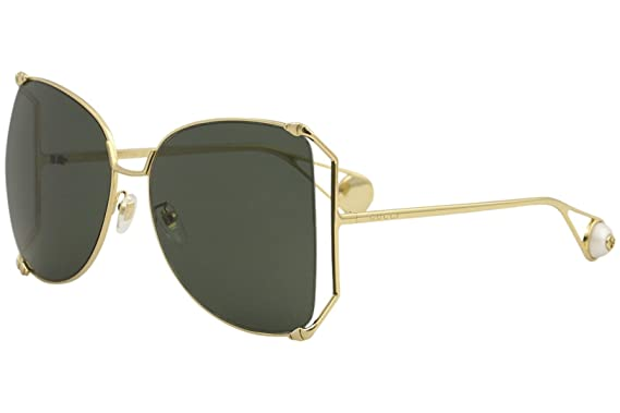 ec18af4ff4 Amazon.com  Gucci GG0252S Sunglasses 005 Gold   Green Lens 63 mm ...