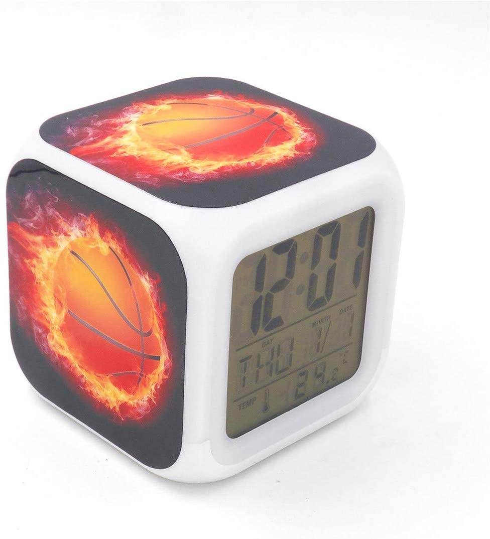 """BoWay 3""""Desk & Shelf Clock Basketball Fire Digital Alarm Clock with Led Lights Red Table Clock for Kids Teenagers Adults Home/Office Decor"""