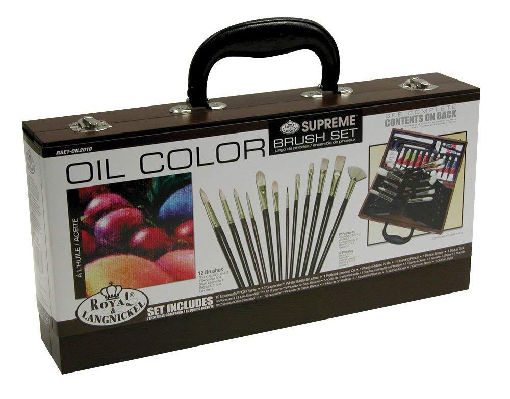 Royal & Langnickel - Valigetta di legno contenente 12 pennelli e colori ad acrilico in tubetto