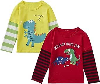 Camiseta para niños y niñas, 2 piezas, 3 piezas, cuello redondo, rojo, blanco, amarillo, azul, 1T-6T