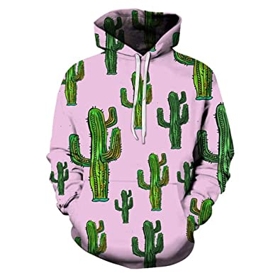 Cactus 3D Pockets Pink Autumn Tracksuit Unisex Hooded Tops S