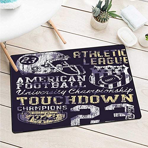 Custom&blanket Sports Universal Door Mat Retro Style American Football College Theme Illustration Athletic Championship Apparel Door Mat is Odorless and Durable (W31.5 X L47.2 inch,Purple) -