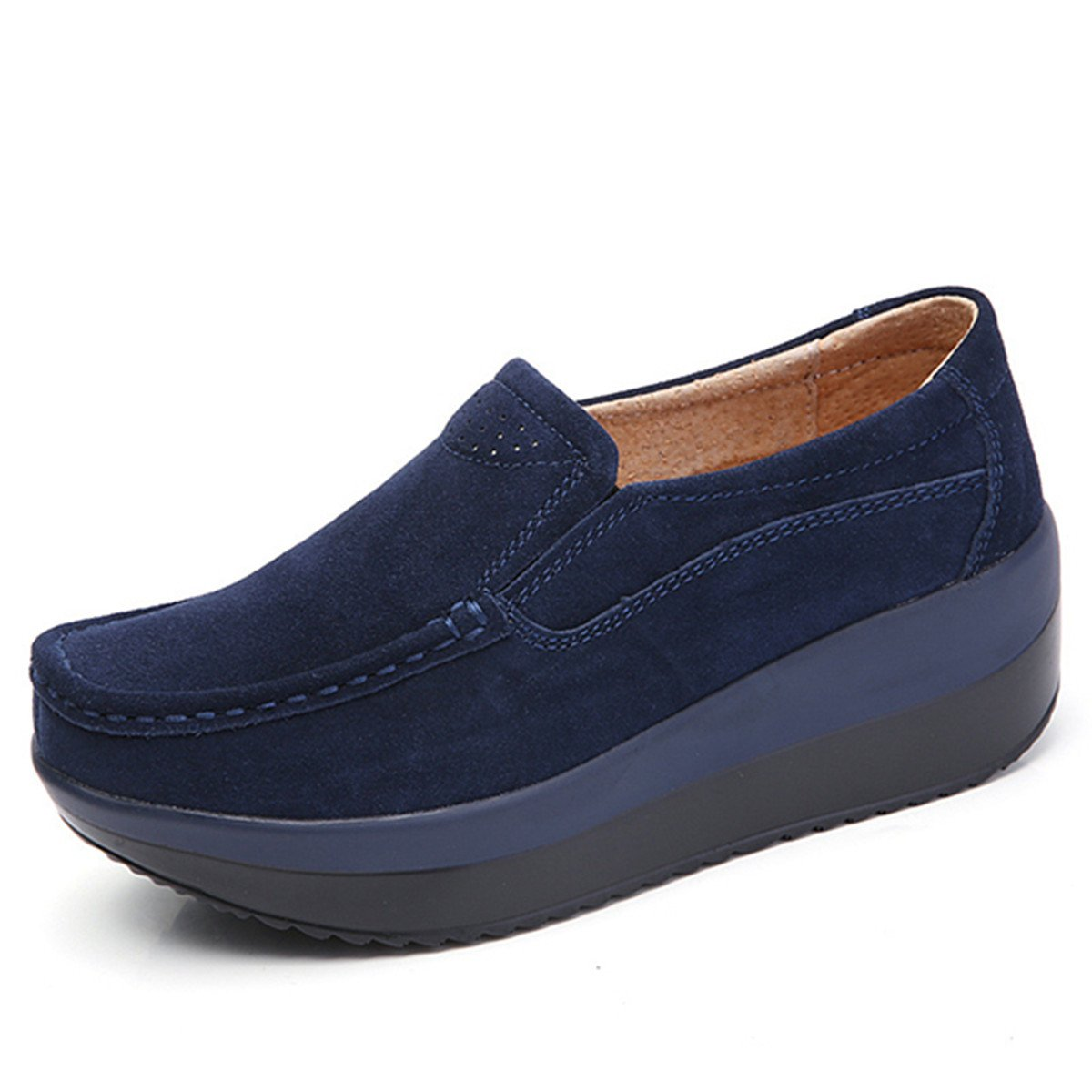 Gracosy Women's Platform Suede Shoe,Slip On Loafers Casual Rocker Sole Large Size Mid Heels Wide Low Top Wedge Comfort Shoes