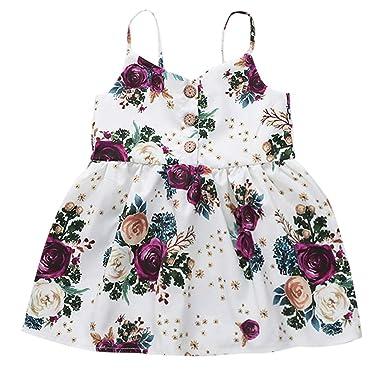 dd9dc8cc365fb 2019 Baby Girls Dress, Toddler Girl Boho Floral Print Sleeveless Princess  Dress Beach Sundress Summer Clothes