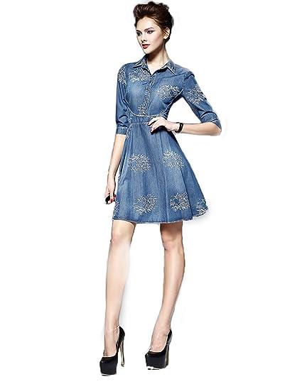 8e7cb6fef3e4a Autumn Winter Women Long Sleeve Maxi Denim Dress Plus Embroidery Classic  Dresses (Style: Long