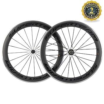 FidgetGear Superteam - Rueda de Carbono para Bicicleta de Carretera (60 mm), tamaño