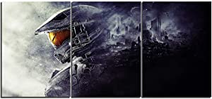 TYHC Halo Video Game Art Canvas Posters Home Decor Wall Art 3 Pieces Paintings for Living Room HD Prints Pictures (M,Unframed)