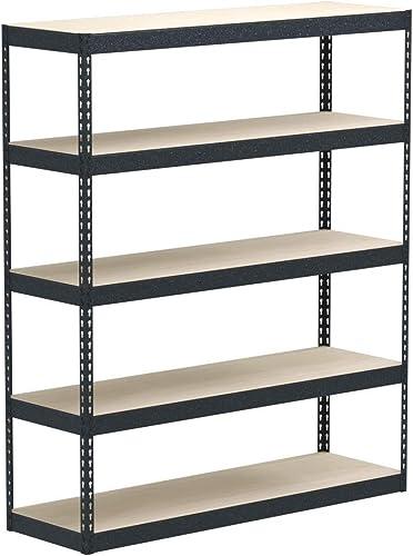 MonsterRax 18 x60 x72 Modular Garage Shelving Hammertone Steel Storage Rack 300 Pounds Per Shelf 5-Tier Shelves Work Bench 18x60x72 Hammertone, 18 x 60 x 72