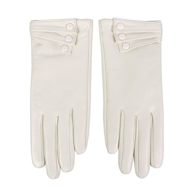 Victorian Gloves | Victorian Accessories Nappaglo Nappa Leather Gloves Warm Lining Winter Button Decoration Lambskin for Women $30.99 AT vintagedancer.com
