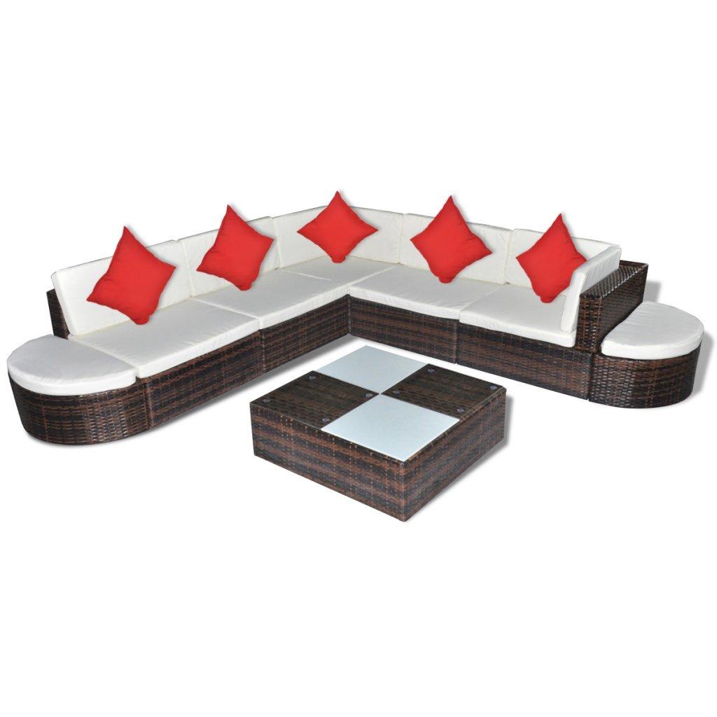 vidaXL Gartenmöbel 27-TLG. Poly Rattan Lounge Sitzgruppe Gartenset Sitzgarnitur