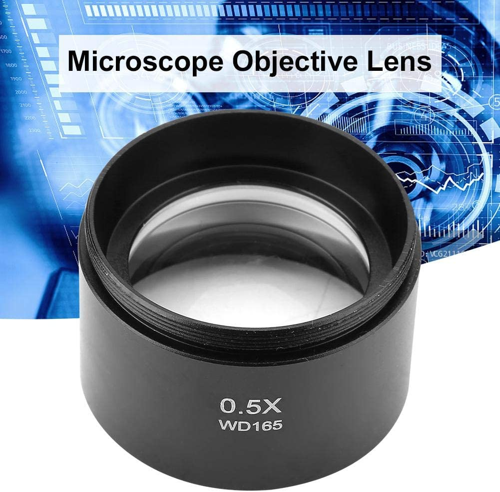 Auxiliary Stereo Microscope Objective Lens for Industry Video Microscope 48mm Mounting Double The Magnification of Original Objectives Jarchii 0.5X Auxiliary Objective Lens