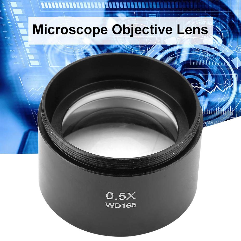 Nitrip KP-0.5X Auxiliary Stereo Microscope Objective Lens Metal Aluminum Alloy Glass Lens for Industry Video Microscope 48mm Mounting