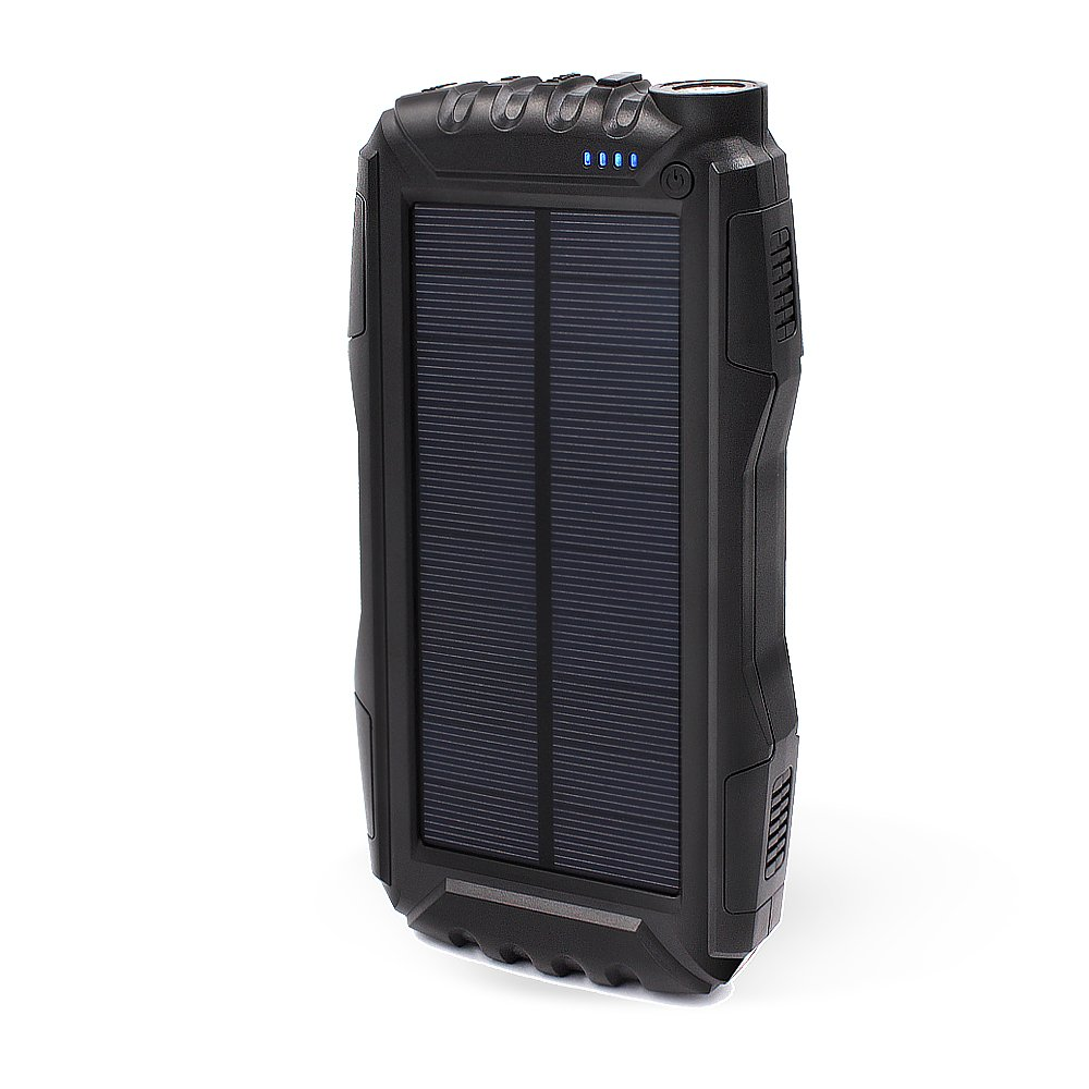 KOJOTON Solar Charger, 22500Mah Solar Phone Charger Waterproof Portable External Battery Pack Dual USB Solar Power Bank with 2 Flashlights for iPhone and Other Smart Devices