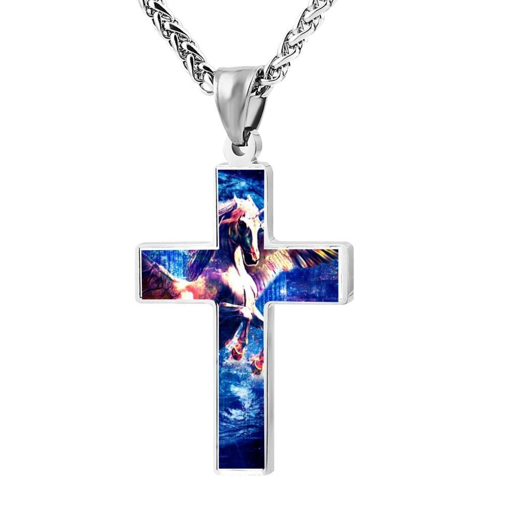 Kenlove87 Patriotic Cross Unicorn Religious Lord'S Zinc Jewelry Pendant Necklace by Kenlove87 (Image #1)