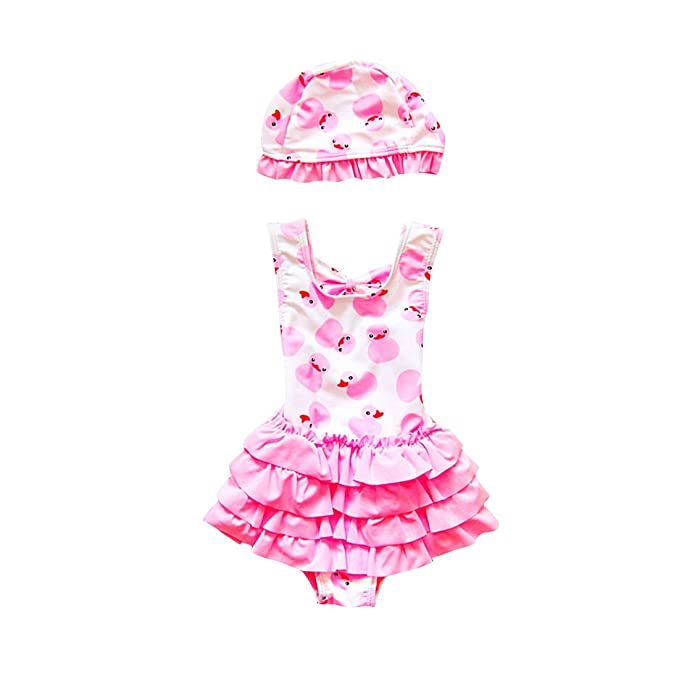 329994c8a14d7 Amazon.com: WINZIK Baby Girls One Piece Swimsuit Cute Duck Print Toddler  Kids Swimwear Beachwear Bathing Suit Summer Clothes with Hat: Clothing