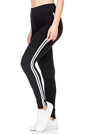 19a6bca386f1f5 BLINKIN Yoga Gym Workout and Active Sports Fitness Black Stripe Polyester Leggings  Tights for Women