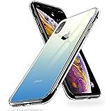 """【Humixx】iPhone Xs ケース iPhone X ケース 高透明感 光学式メッキ加工 高純度ガラス仕様 黄変防止 ハイブリッドケース ストラップホール付き 滑り止め付き[Crystal Series](5.8"""") (グラデーションブルー)"""
